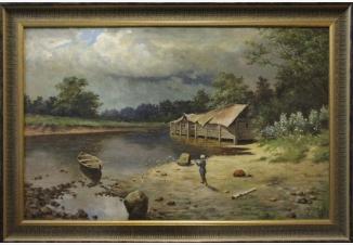 Пейзаж с лодкой. Рыбалка